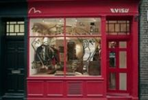 Evisu Store / Popstore absolutely loved this project and helped to design and build this amazing London flagship store for Evisu on Newburgh Street. Raw, wood earthy materials were used to create a wholesome feel within the store, typical of the brand. Creative artwork was placed on the windows inviting passers by into the store. #Retail #Design