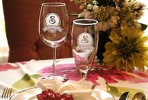 Personalized Barware, Bar Glasses / Personalized wine glasses, whisky, scotch and bourbon glasses as well as beer mugs and decanters. Deeply carved (not really etched or engraved, but better!) monogram wine glasses make great gifts for the special man or woman with extraordinary taste! By Crystal Imagery.