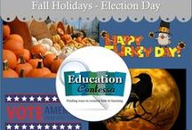 FALL HOLIDAYS / Classroom teaching ideas for Fall Holidays - Thanksgiving, , Halloween, Election Day.   If you would like to start pinning education ideas on this board or any of my open boards, send me an email at EducationContessa@gmail.com with your Pinterest name and the names of the boards. Pinners - limit your product pins to no more than 3 a day and they must be on the topic of the board. Pin as many ideas and freebies as you want.