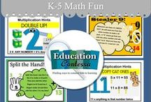 K-5 MATH FUN / Elementary Class (K - 5th) Math games and activities for the classroom and homeschool.  If you would like to start pinning education ideas on this board, send me an email at EducationContessa@gmail.com with your Pinterest name. Pinners - limit your product pins to no more than 3 a day and they must be on the topic of the board. Pin as many ideas and freebies as you want.