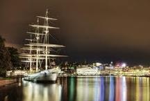 Boats and yachts at night