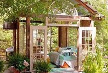 Outside spaces, open rooms, patios, decks / Outside showers/tubs, my summer office, shady retreats, pergolas, porches.