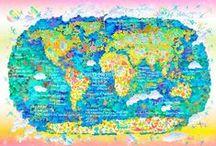 "WORLD HERITAGE ART / Graphic artist Koichi Matsuda's  WORLD HERITAGE ART and world map. http://www.worldheritageart.net  グラフィックアーティスト松田光一の世界遺産アート。WORLD HERITAGE ART は世界遺産を題材にしたアート作品です。 http://www.worldheritageart.net  世界遺産を描く旅。 国境を越えて世界をもっと大切にする心を創る。  ""世界遺産""という概念は、大自然や人類が築いてきた地球上の大切な文明や歴史の品位を、 国境を越えて地球人としてみんなで大切にしていこうとするものです。 私はそんな世界遺産に強い力を感じ活動を始めました。 世界中を描き、世界中と会話する。 描けば描くほど、訪ねれば訪ねるほどに高まっていく""世界、歴史、人類""への興味と創造力。 「描きたい!実際に見てみたい!」と描き続けた場所。いつの間にかその場所を訪ねられていたりする。 願いを形にしていく世界遺産アート"
