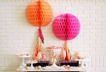 Pink + Orange + Gold Party Inspiration / Party styling ideas from a Graduation Party I styled for my daughter and three of our cousins who all graduated at the same time.