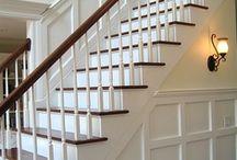STAIRCASE ~ Interior design / Home staircase, wood, white, paint, carpet,  #InteriorDesign. Interior Design by Jil Sonia McDonald of Jil Sonia Interiors, Chilliwack, BC V4Z 1K7 https://www.jilsoniainteriors.com/
