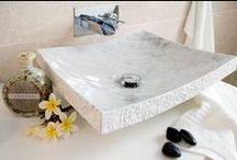 Natural Stone Basins / Handcrafted from solid natural stones from around the world- Carrara marble, Blue Pearl Granite, Crema Marfil Marble, Black Granite, Green onyx, Pearl White, Shanxi Black