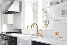 Dream Kitchen / Kitchen inspo. White, marble, gold, stainless steel....