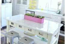 DIY Kitchens / Kitchen remodeling ideas with white cabinets and aqua accents. / by Tatertots and Jello .com