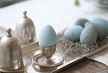 Antique Eggcups / The European way to serve a soft-boiled egg is in an eggcup. I am searching for the silver device that scissors off the top of the egg...and maybe will add those little egg spoons.... / by Margo Carroll