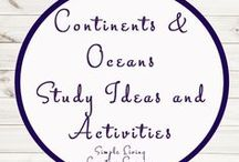 Continents and Oceans Study Ideas and Activities / Study Ideas | Activities | Homeschooling | Educational | Continents  | Printables | Learning | Unit Studies | Crafts | Oceans | World