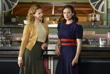 Peggy Carter red/blue & plum dresses / Research for 2 dresses Peggy wears in the series. The original vintage red & blue dress and the custom made plum dress.