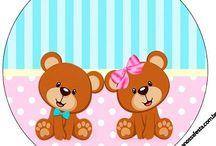 Kit ursinha rosa e ursinho azul