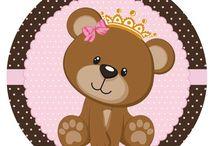 Kit ursinha princesa rosa e marrom