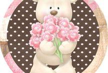 Kit Urso marrom e rosa