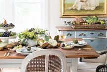Fall Home Decor / Rich color and textures are the trademarks of Fall Home Decor.  As we decorate for autumn, let's think of it as wrapping our homes in warm and cozy sweaters with pretty wreaths, vignettes, leaves, acorns, pine cones, warm colors, textures, and so much more!