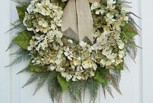 """Wreaths for Home Decor / Wreaths can be the perfect accessory in Home Decor.  From the front door, to sharing a spot in a photo gallery, wreaths are a great way to add color and texture and seasonal interest to our homes.  There's nothing like a wreath on the front door to say, """"Welcome!"""""""