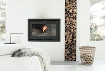 Fire Places / Incredible fire places, half and mantle styling and very clever ways to store your wood for easy access.