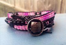 Wrap bracelets / Hand crafted, glass beads and genuine leather, wrap bracelets.