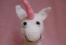 Amigurumi / Crocheted or knitting plushies.