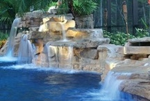 Water Features / Swimming pools with amazing water features: rock waterfalls, sheer descent waterfalls, fountain bubblers, deck jets, laminar fountains and more http://www.poolspaoutdoor.com/photos / by PoolSpaOutdoor.com
