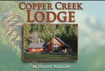 Copper Creek Inn Cabins / Copper Creek Inn, Cabins and Lodge, located 2 miles west of the the Nisqually (southwest) entrance to Mt. Rainier National Park, is a small resort with two suites and one sleeping room upstairs from historic Copper Creek Restaurant. Ten cabins are scattered throughout the pristine 10+ acres that is surrounded by Nisqually Land Trust and Forest Service land. The roaring, rocky Copper Creek intersects the property with plenty of spots to steal away and enjoy the solitude.