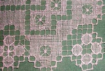 Filet Lace / Embroidery on netting, very old craft / by Gretchen Johnson