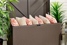 Spacemaker® Designer™ Series Storage Chest / The look of basket weave wicker with the strength of steel, the Designer Series Storage chest makes adding style and storage to any deck, patio or backyard easy!