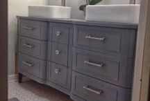 Furniture Into Bathroom Vanities / Here's your chance to up your game in the bathroom.  Take an old piece of furniture and turn it into an amazing vanity.  Become the envy of all your friends.  Here's some inspiration for you.