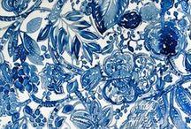 Pattern・Indigo / Print, Hand draw, Ikat, Stitch