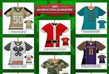 Shirt and Jersey Christmas Ornaments / These are the coolest t shirt style ornaments I have come across. Way cool and you can personalize them! Sports ornaments like baseball, basketball, soccer and racing. Miscellaneous shirt ornaments like patriotic and military shirt ornaments.