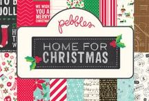 Home for Christmas Collection / Celebrate the spirit of the season with Home for Christmas, a new collection from Pebbles. This festive collection features traditional shades of berry red and pine green with modern accents of cool turquoise, bright white and gingerbread brown. Images of candy cane stripes, peppermint swirls, snowflakes and holiday treats add their own bit of holiday magic to every project. / by Pebbles Inc.