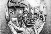 Skulls / Illustrazioni che celano tra i tratti la forma di teschi.