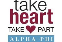 Take Heart. Take Part. / Take Heart. Take Part. is an education initiative by Alpha Phi Foundation to make the life saving treatment of sudden cardiac arrest (SCA) readily accessible in communities and on campuses across North America. It is designed to expand public awareness of SCA, provide the life saving skill of Hands-Only™ CPR, and implement automated external defibrillator (AED) programs.