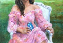 Art- 2 portraits / http://oilpaintingwcaro.blogspot.com/  https://www.facebook.com/pages/Wanda-Caro-Fine-Art-Oil-Paintings/596153873802030 https://www.etsy.com/shop/ArteWandaCaro Fine art, Original Oil Paintings Still Life, portrait, seascape, landscape, Puerto Rico, Cuba, bird dog, figure, flowers / by Wanda Caro