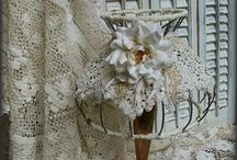 lamps / embellished, decorated, shabby chic, beautiful, farmland, home made, altered lamp shades.