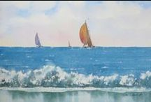 Seascape Watercolor Paintings by Jim Oberst / Here are some of my favorite watercolor paintings of ships and the sea.