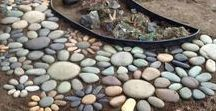 Outside Decor / Unique Decor for Outdoor Areas - planters, stonework, paths and walkways, mosaics, exterior art, interesting ways to lay out rocks around gardens, and landscape ideas.