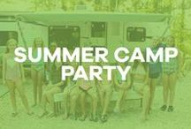 A Summer Camp Party / Birthday party inspiration: summer camp, camper, tent, woods, outdoors, campfire, s'mores, bandana, dream catcher, slumber party, sleepover, crafts.