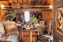 Camper ~ The Huntin' Lodge / Log furniture, antlers, plaid flannel and animal prints, iron skillets, etc... / by Robin Mundy