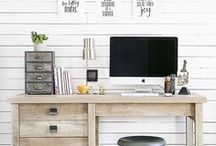 Office Inspiration / Ideas for office - rustic, white walls, plants, light filled spaces