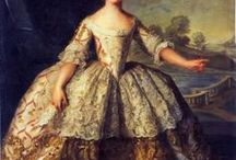 Dresses 1700-1750 / Fashion is characterized by a widening silhouette for both men and women. Wigs remained essential for men of substance, and were often white; natural hair was powdered to achieve the fashionable look. Distinction was made in this period between full dress worn at court and for formal occasions, and undress or everyday, daytime clothes. As the decades progressed, fewer and fewer occasions called for full dress, which had all but disappeared by the end of the century.