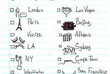 travel bucket list / Bali, Greece, London, New York, Paris, Thailand, Bangkok, Singapore, Bora Bora, California, San Francisco etc