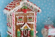 """Gingerbread Houses / Love Gingerbread houses at Christmas! The harder German-style gingerbread is often used to build gingerbread houses similar to the """"witch's house"""" encountered by Hansel and Gretel. These houses, covered with a variety of candies and icing, are popular Christmas decorations, often built by children with the help of their parents. / by Velta Thomas"""
