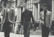 1950s Men's Fashion / Step back to the days of Rock n' Roll and hot rods. 1950's mens fashion and clothing took its place in history. Let us explore the past while shopping in the present of vintage style 1950s clothing for men. Begin at VintageDancer.com/1950s