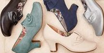 1940s Shoes / Vintage 1940s shoes for inspiration. 1940s style shoes so we can get that vintage look for ourselves. Wedgies, peep toes, oxfords, saddle shoes, penny loafers, flats and more 1940s shoe envy.
