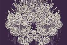 Lace / Patterned web, delicate, wispy, feminine.