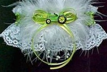 John Deere Tractor Garter / 'Down on the Farm' Garters. John Deere Tractor Wedding Bridal Garter with a dash of glam and style. Something special for the rural bride and her new husband. John Deere Tractor Wedding Garter / John Deere Tractor Bridal Garter. Custom Accessories Garters LLC - www.garters.com  / by garters.com