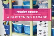 Home: Garage organization / Our garage is my husband's man cave, when I am not filling it up with junk. A board with ideas to keep the garage clutter under control.
