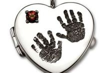 Baby Hand Print & Footprint Jewelry / Keepsakes of baby feet and hands.  Custom designed baby footprint and hand print jewelry by Imprint On My Heart