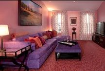 Sunrise Family Room / A family room featuring pink, purple and orange brightens up the mood.
